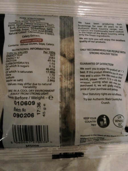Pork Scratchings - Nutrituional Information