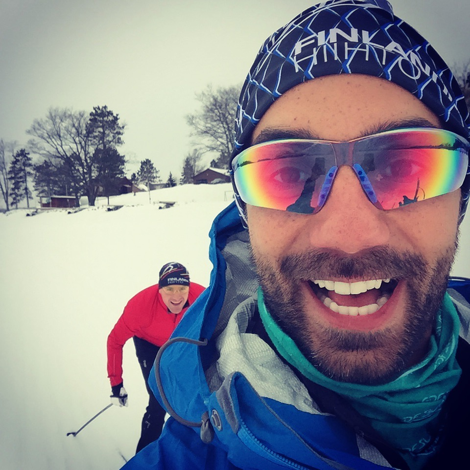 Richard Bray and Mark Power warming up for the American Birkie