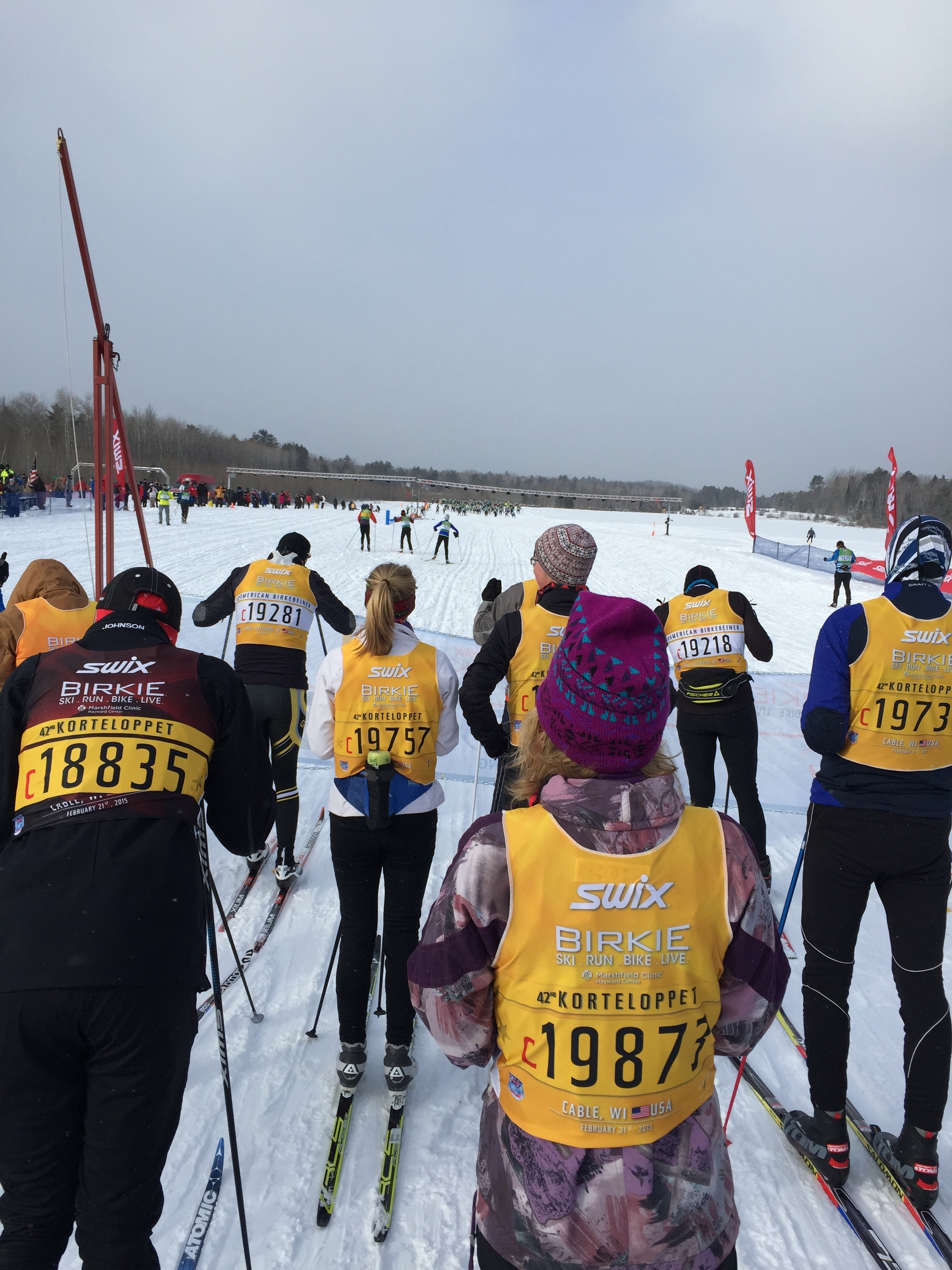 Our view of the start line at the American Birkie - Wave 12